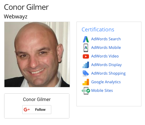 Google Certifications Conor Gilmer