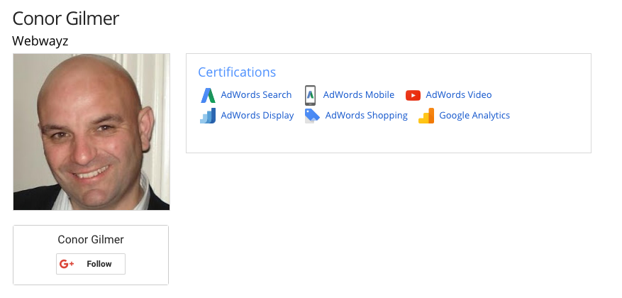 Google Certifications Conor Gilmer
