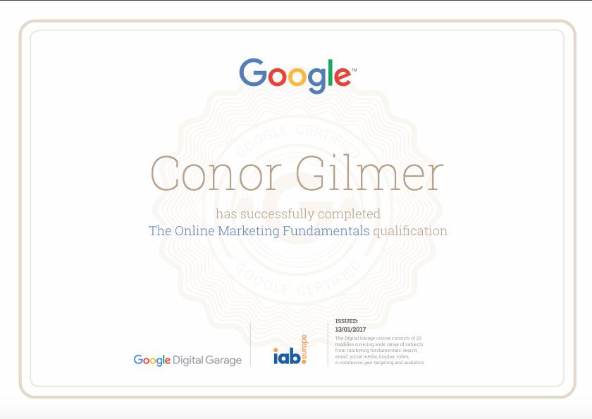 Digital Garage Google Certificate Online Marketing