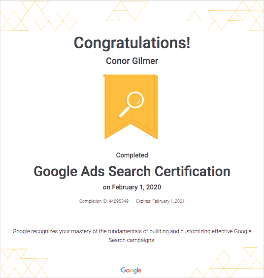 Google Ads Search Cert